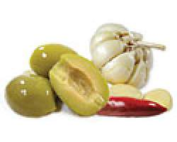 GREEN SPLIT PITTED OLIVES MARINATED (GD) -10KG TUB